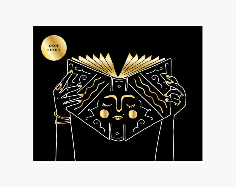 Gold Foil Book - Art Print