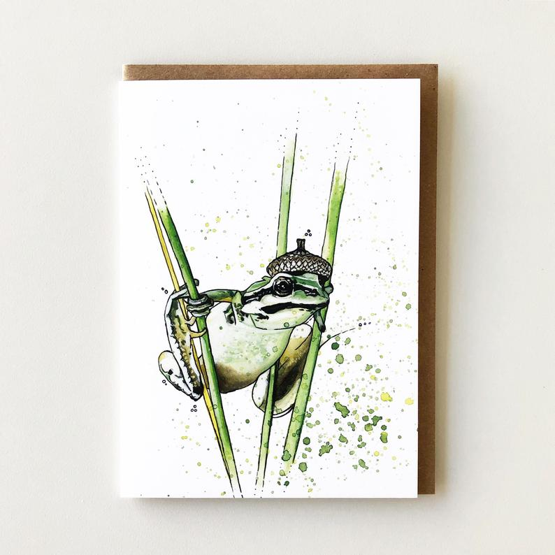 Frog Acorn Hat - Greeting Card
