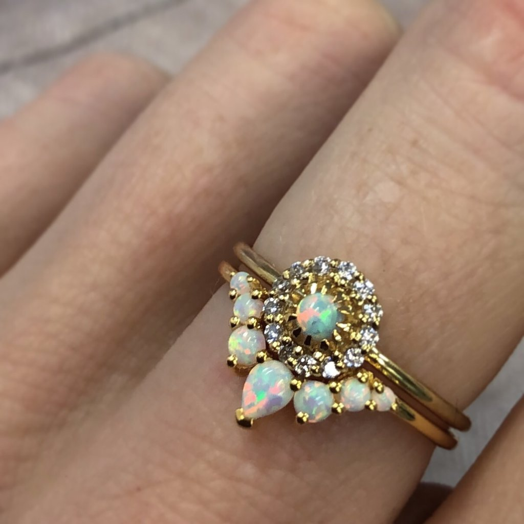 Opal and Diamond Parisian Blossom Ring | LA KAISER