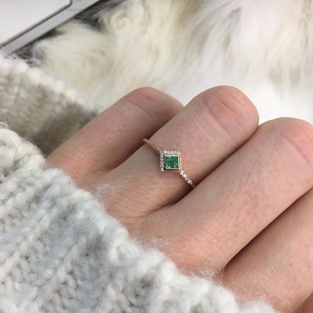 14K Rose Gold Mysterieux Ring - Emerald & Diamond | LA KAISER