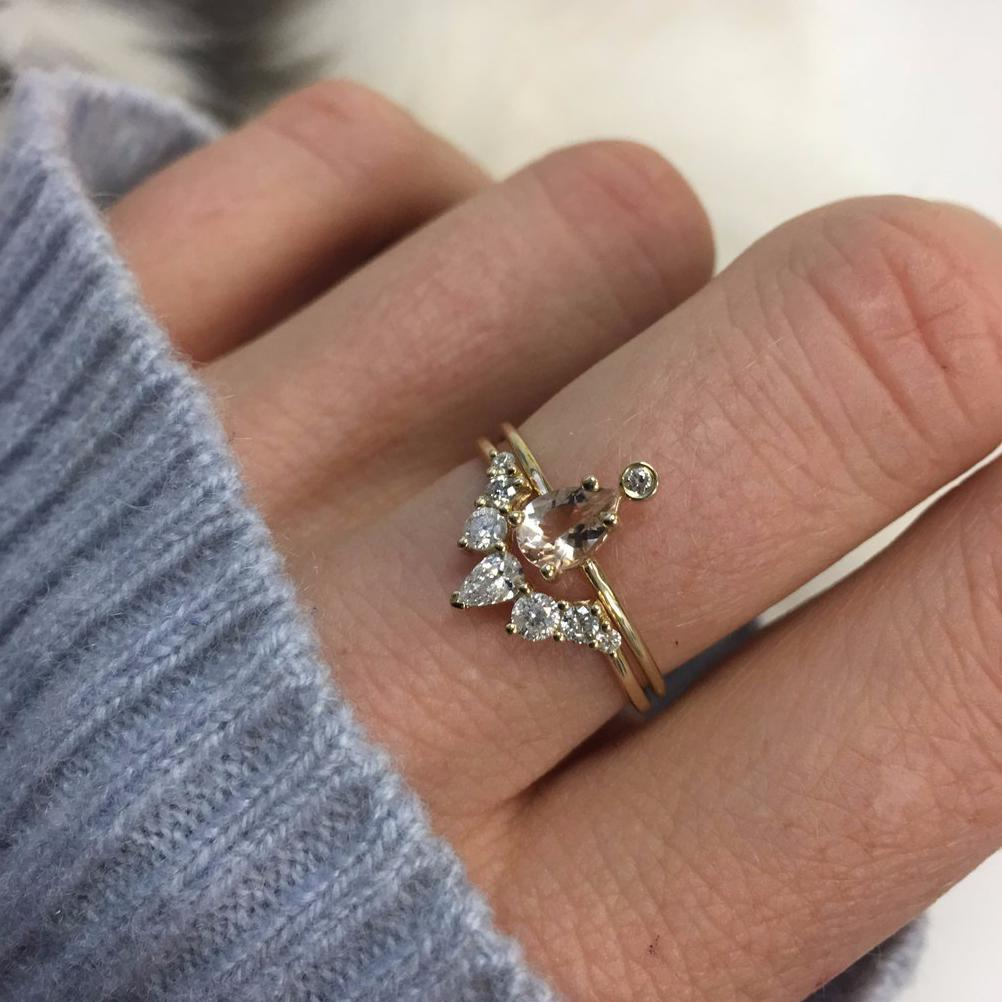 14K Gold Pink Morganite & Diamond Pear Ring | LA KAISER | JV Studios