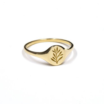 Olive Branch Mini Signet - Brass | CLAUS JEWELRY