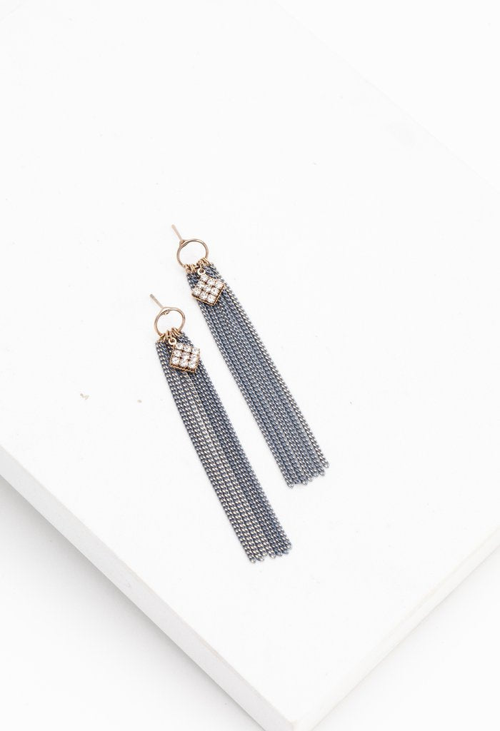 Siene Fringe Earrings - Blue | LOVER'S TEMPO