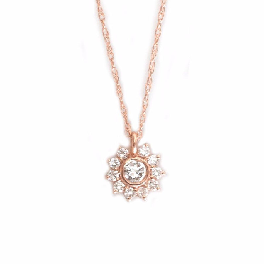 14K Rose Gold Sunflower Diamond Pendant | LA KAISER | JV Studios Boutique