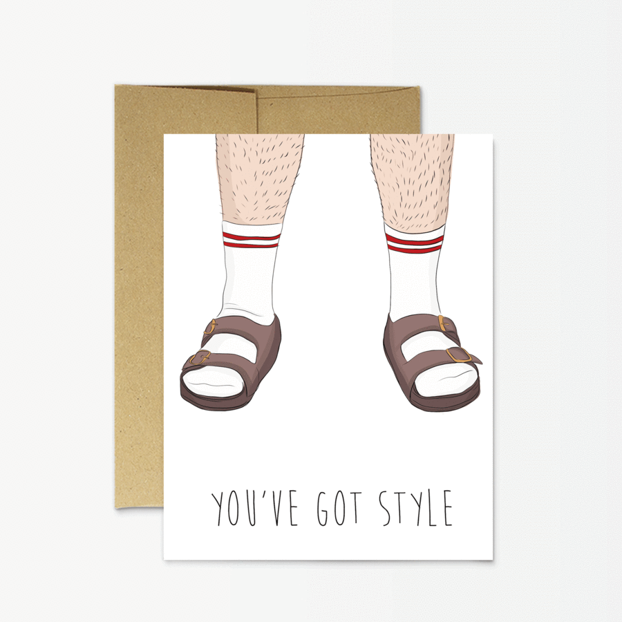 Socks & Sandals - Greeting Card