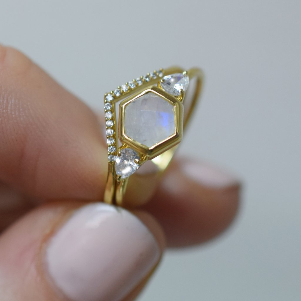 Moonstone & Topaz Hexagonal Vivant Ring | LA KAISER