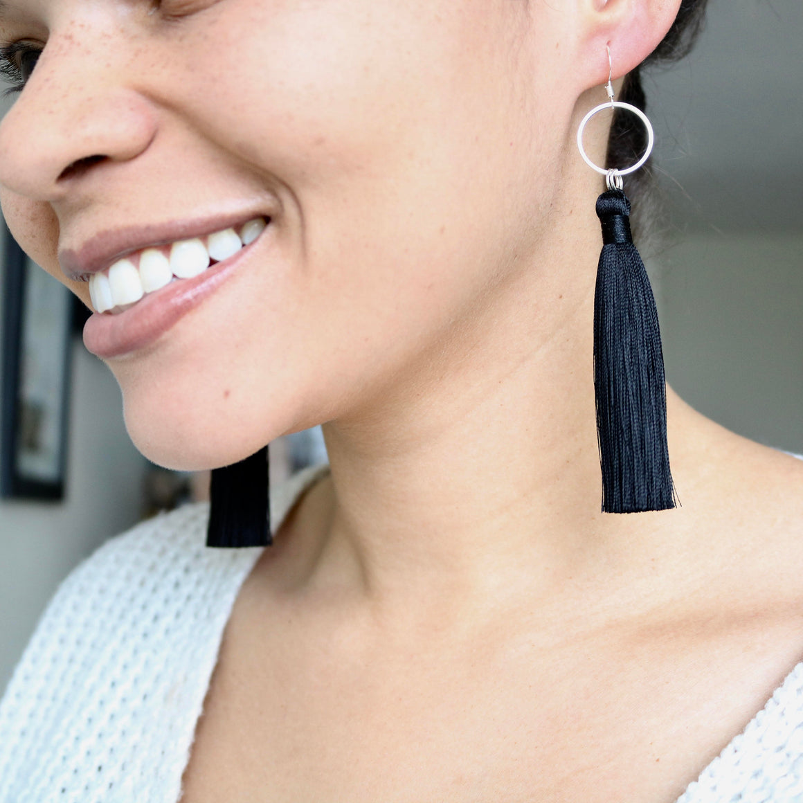 Silk Tassel Earring - Black