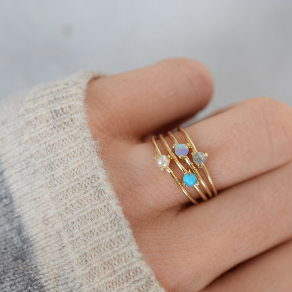 14K Gold Salt & Pepper Point Ring