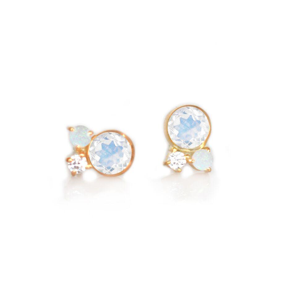 Gold Rainbow Moonstone Candy Studs