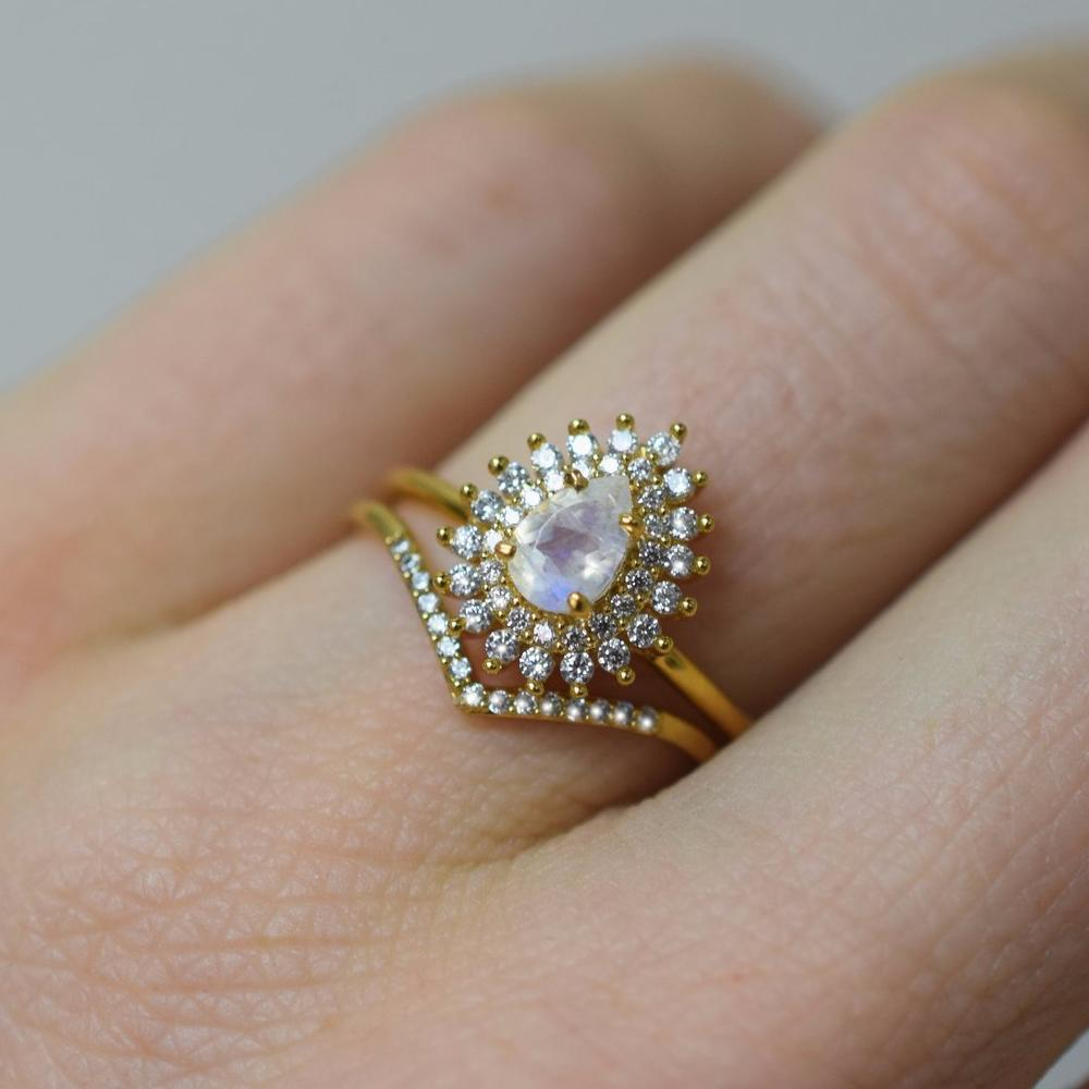 Moonstone & Diamond Vintage Versailles Ring | LA KAISER | JV Studios Boutique