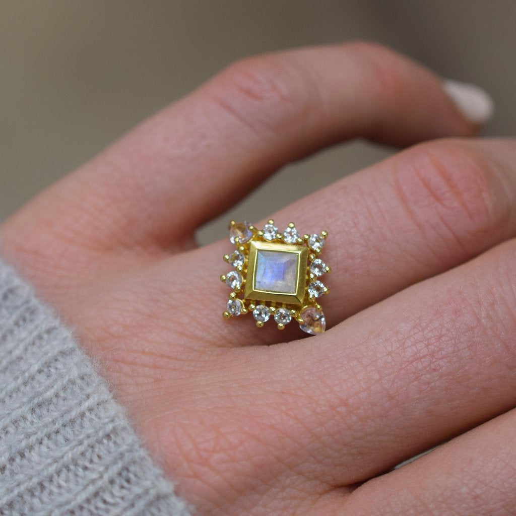 Rainbow Moonstone Victorian Ring