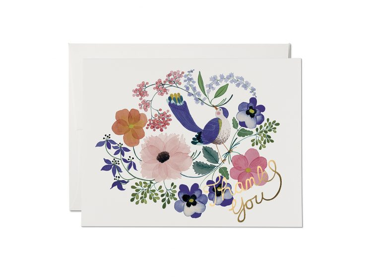 Violet Birdy Foil Thank You  - Greeting Card