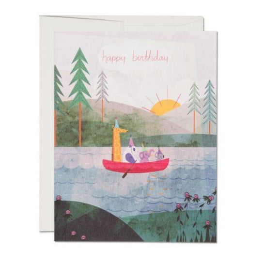 Four Canoe Birthday - Greeting Card