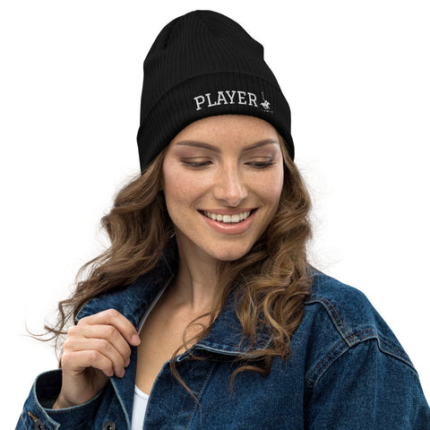Player organic ribbed beanie