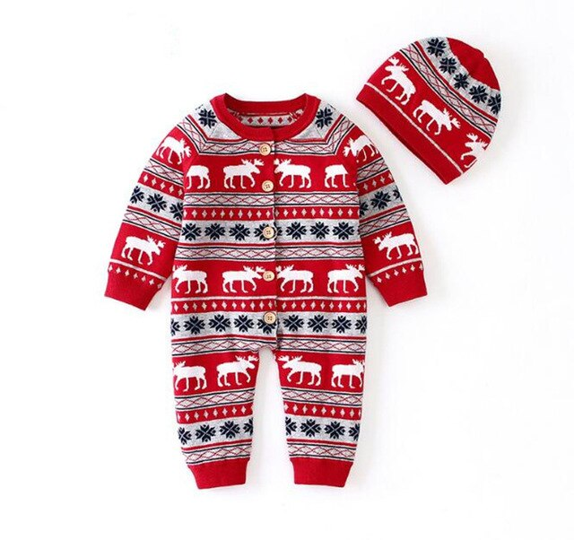 Baby Christmas Knitted Romper With Hat