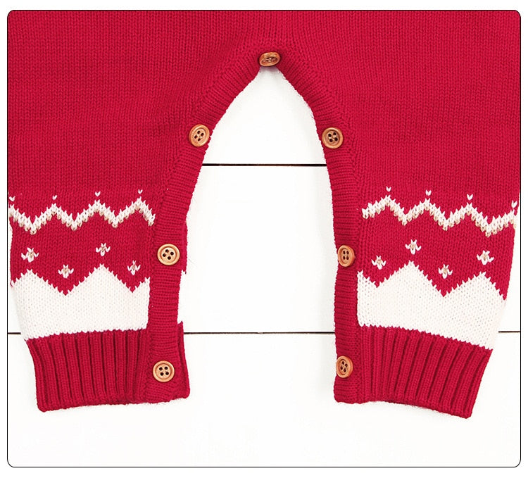 Knitted Baby Christmas Rompers