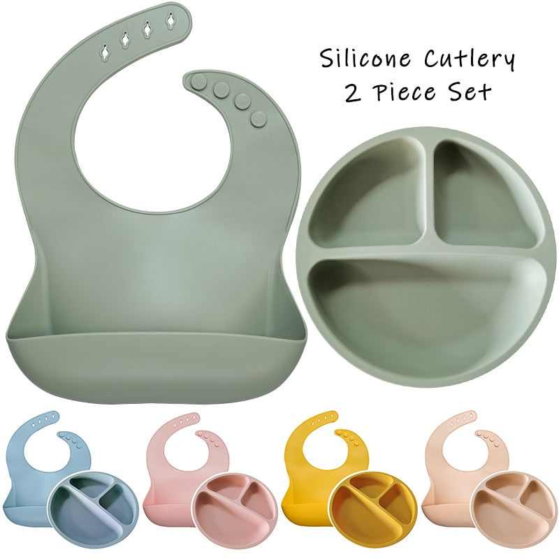 Silicone Baby Waterproof Bibs Set