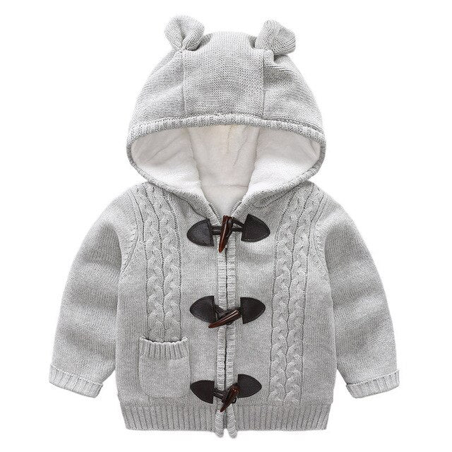 Children  Hooded Sweater Knitted Long Sleeve