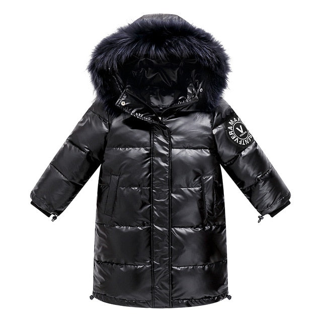 Children Winter Long Style Duck Down Hooded Coat