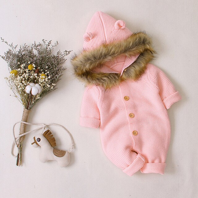 Baby / Toddler Winter Hooded Knit Faux Fur Jumpsuit