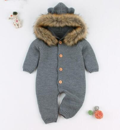 Knitted Winter Baby Hooded  Rompers