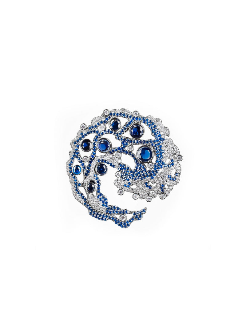 Caspia Navy Brooch