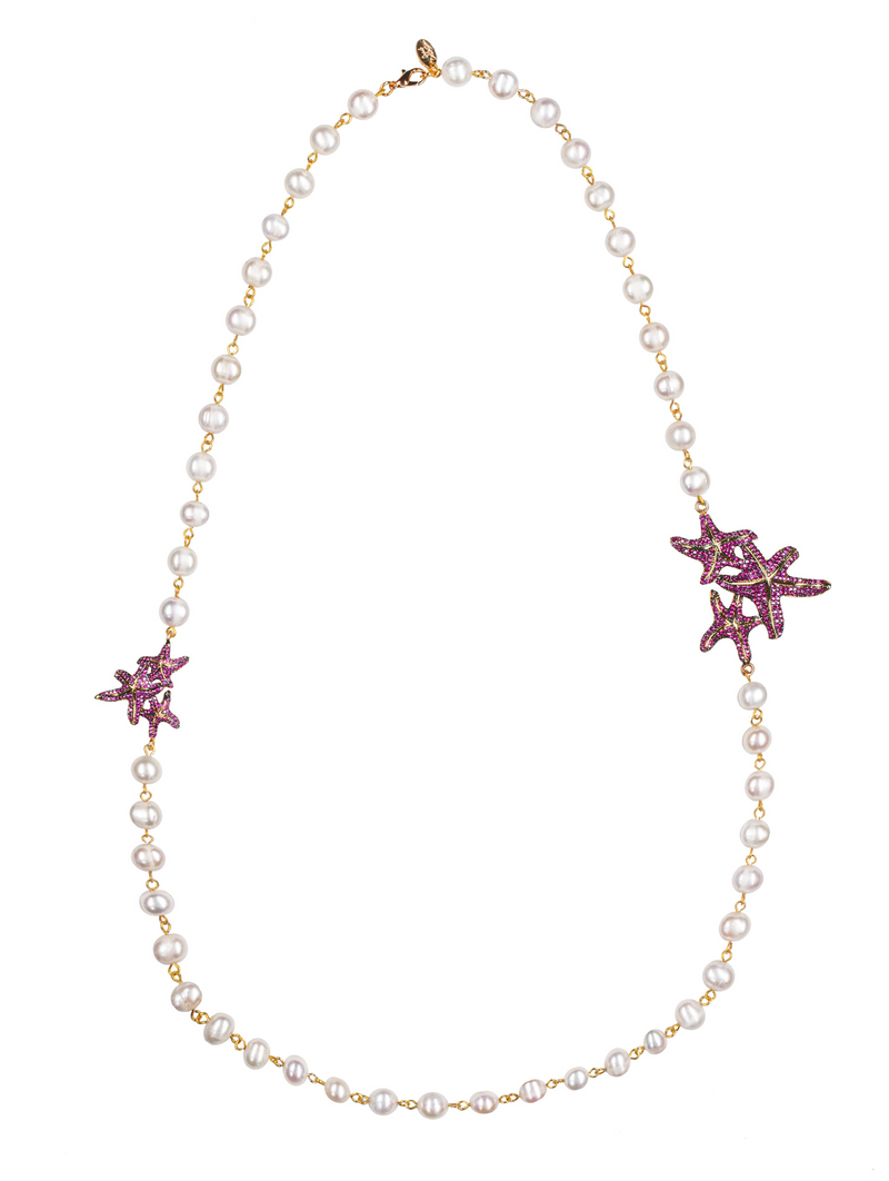 Asteroidea Ruby Pearl Necklace