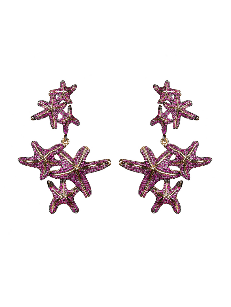 Asteroidea Ruby Earrings