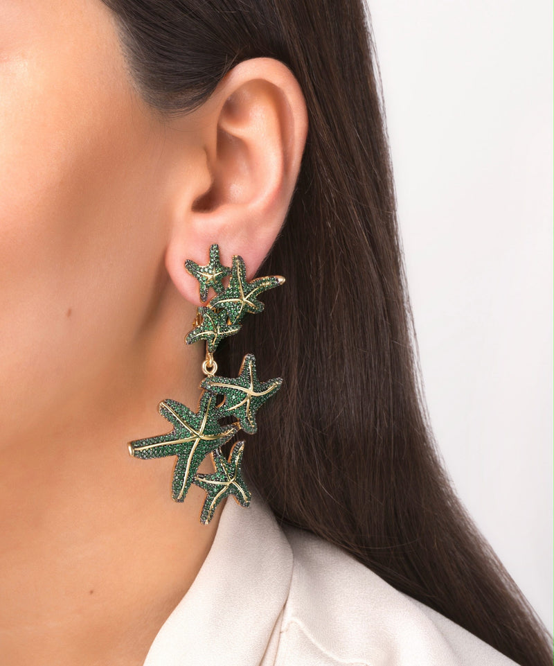 Asteroidea Emerald Green Earrings