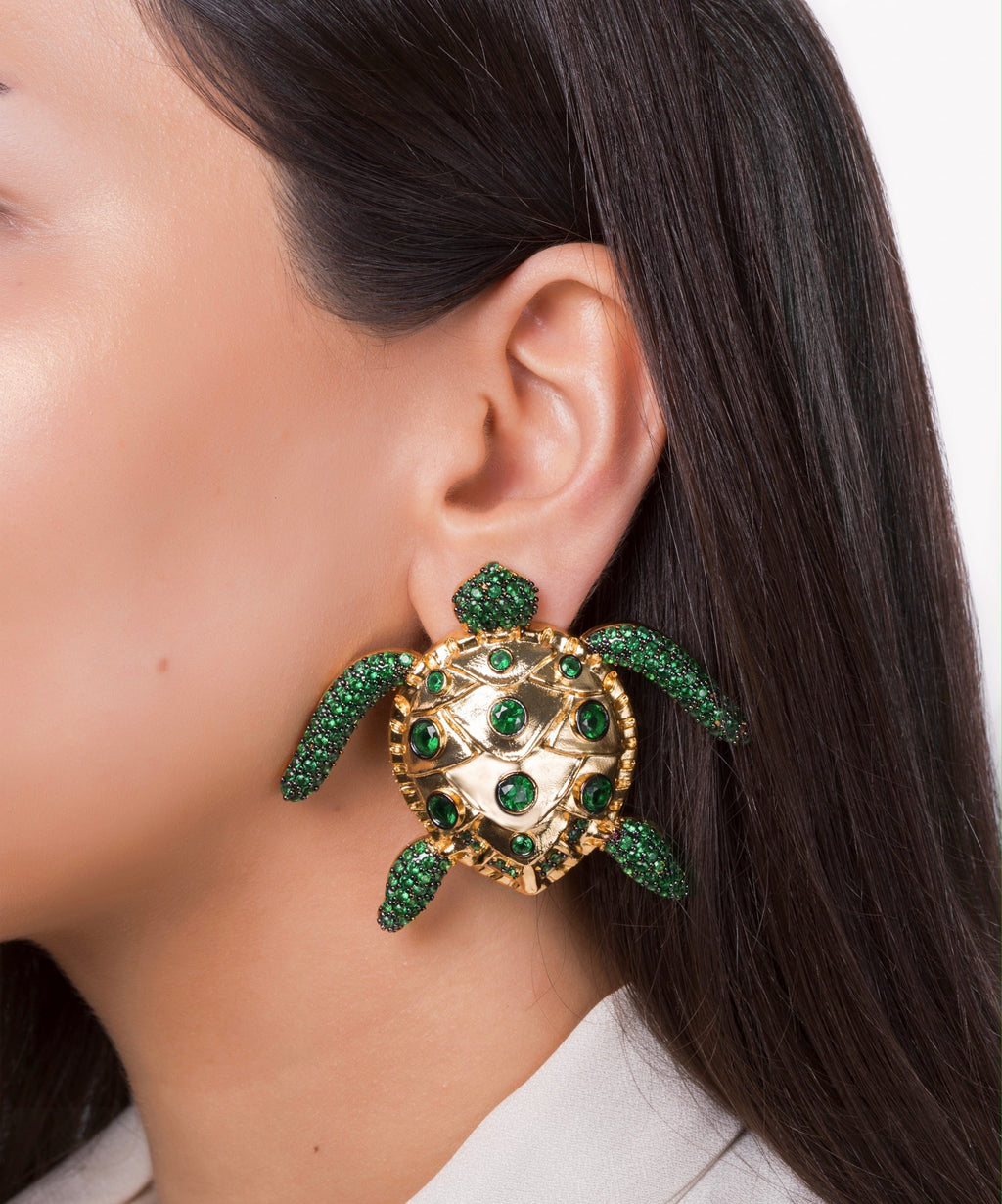 Sea Turtle Emerald Green Earrings