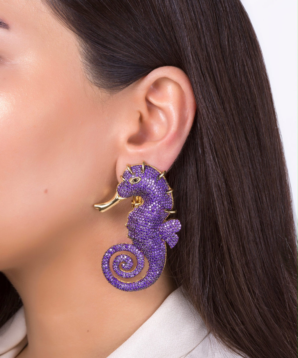 Seahorse Amethyst Earrings