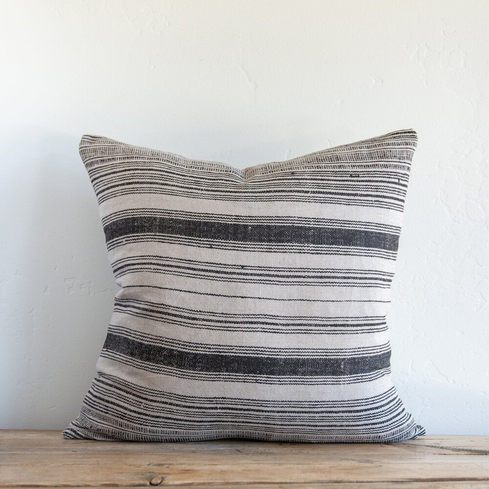 Clyde Stripe Noir + Natural Pillow