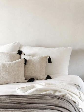 Natural Linen Tassel Pillow