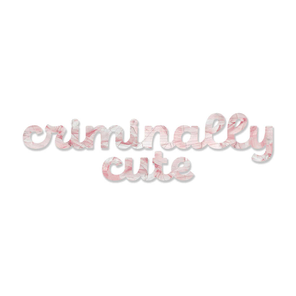 Criminally Cute (Blush Stone) art piece printed on 48 x 6.5 in by Rudie Lee