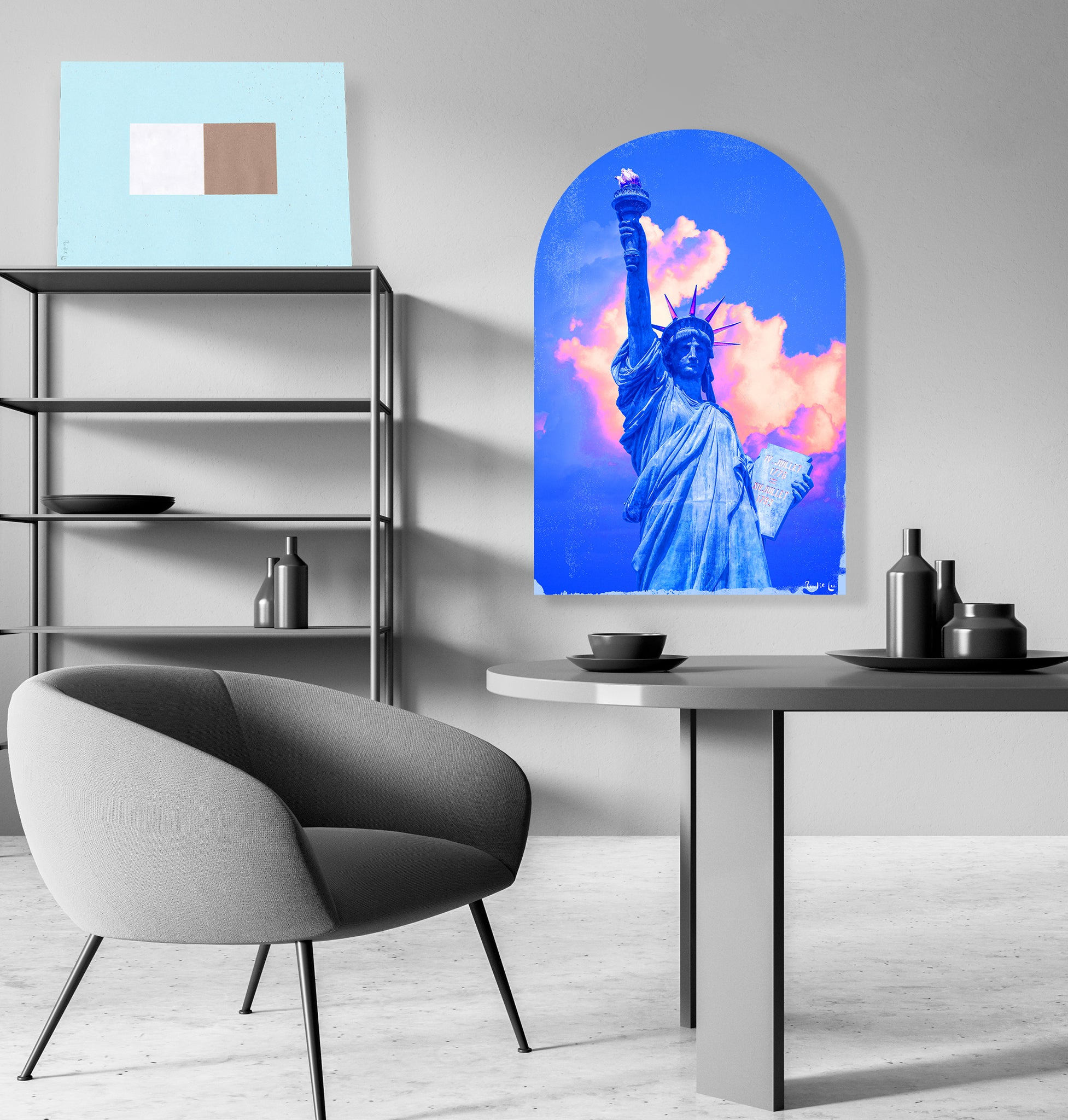 Lady Liberty Remixed (Deep Blue) (Arched) by Rudie Lee