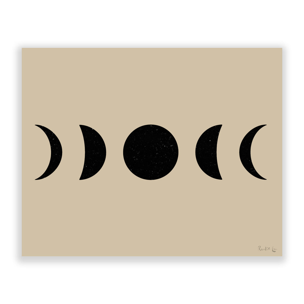 Moon Phases (Black) (Ecru) by Rudie Lee