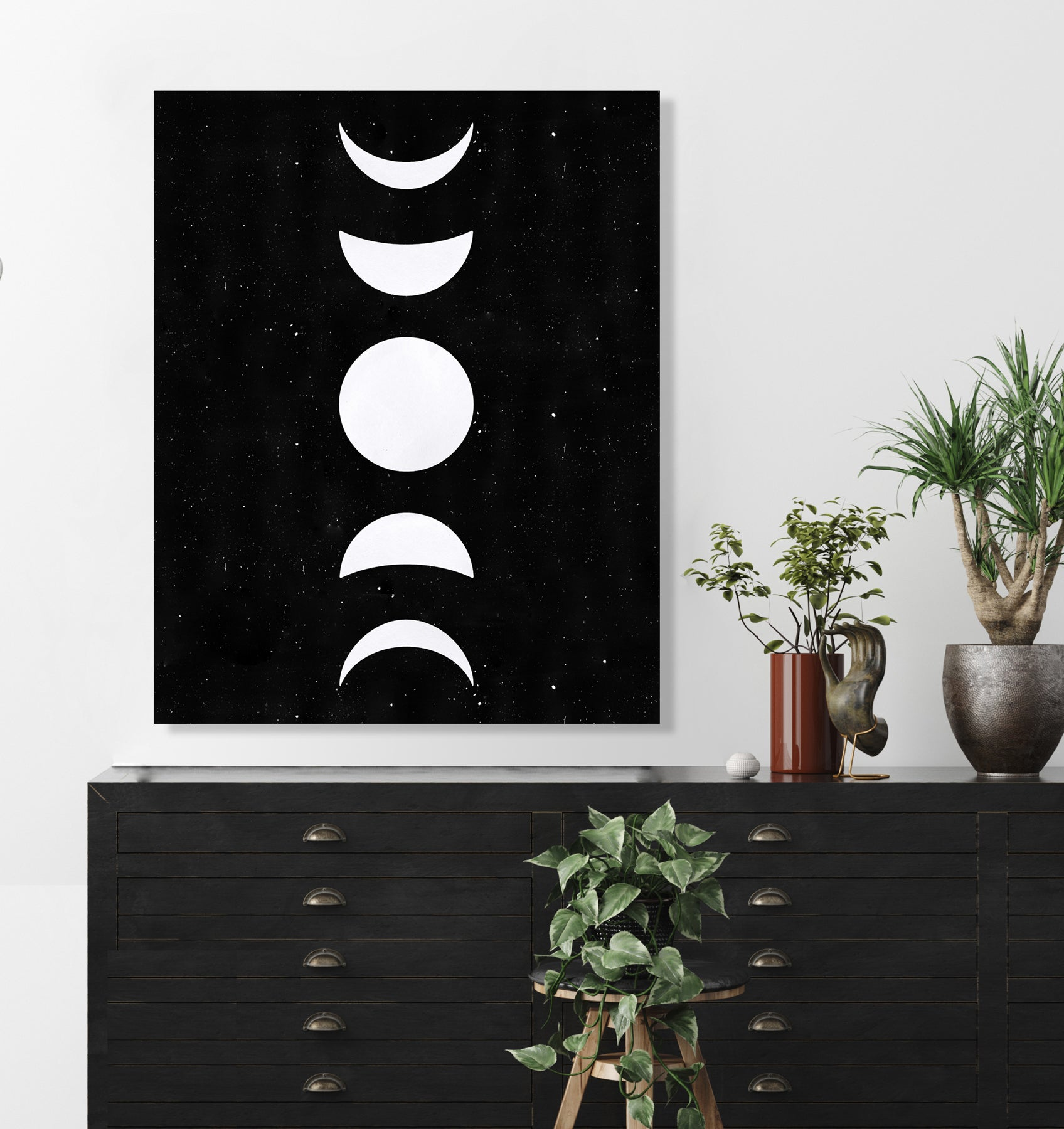 Moon Phases (White) (Black Dust) by Rudie Lee