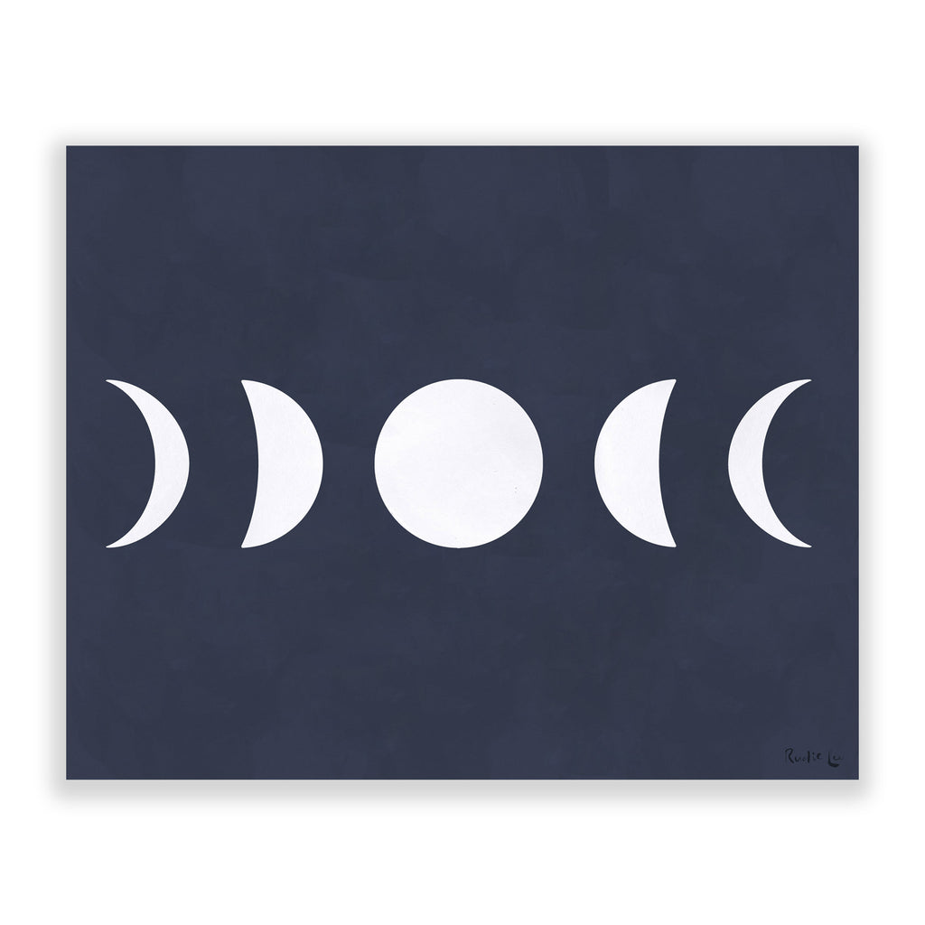 Moon Phases (White) (Navy) by Rudie Lee