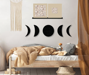 Phases of the Moon (Black Dust) (Die Cut) art piece printed on 20 x 80 in by Rudie Lee