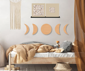Phases of the Moon (Neutral) (Die Cut) art piece printed on 20 x 80 in by Rudie Lee