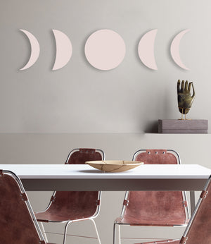 Phases of the Moon (Pink Ashes) (Die Cut) art piece printed on 20 x 80 in by Rudie Lee