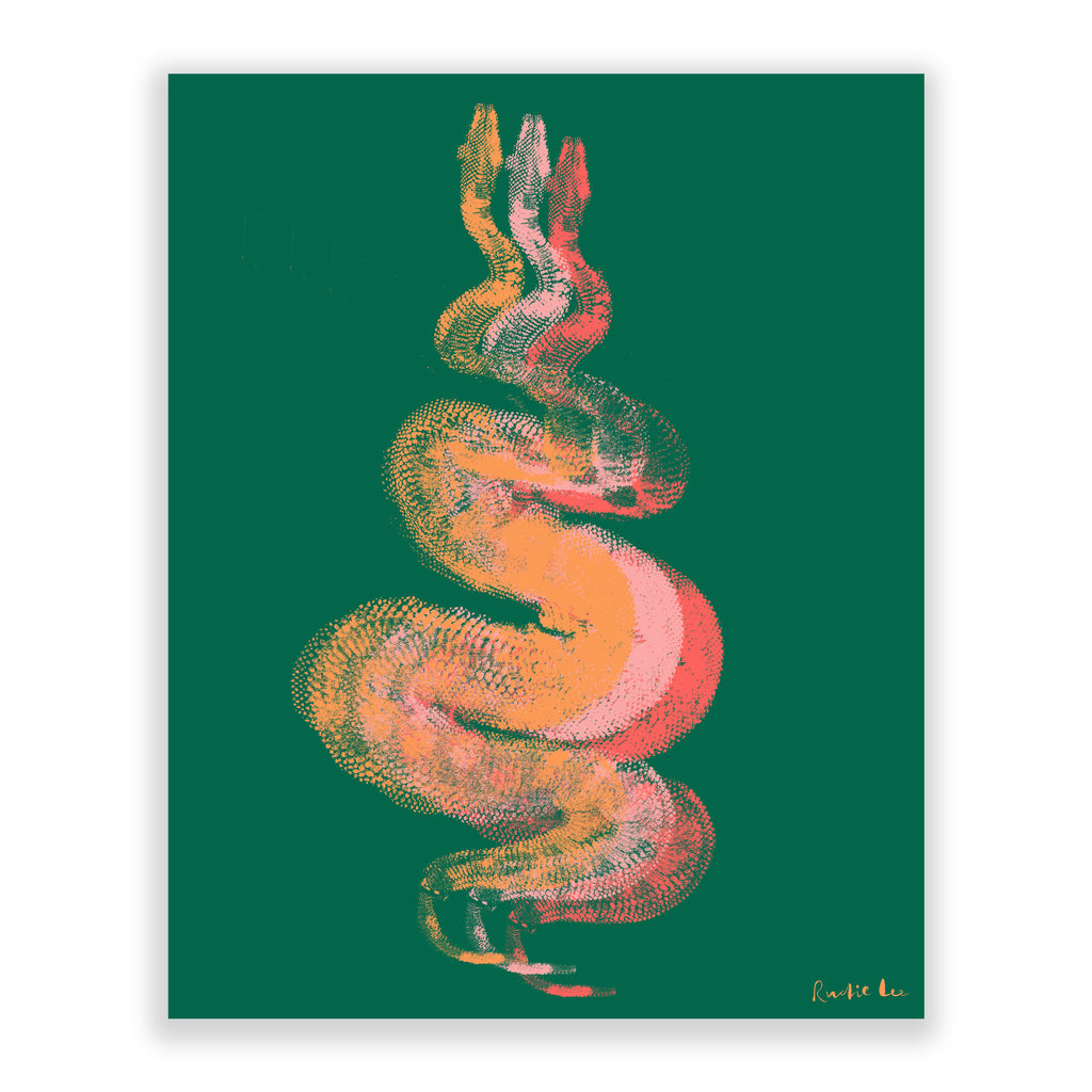 Python Gyotaku No. 01 (Corals Green) by Rudie Lee