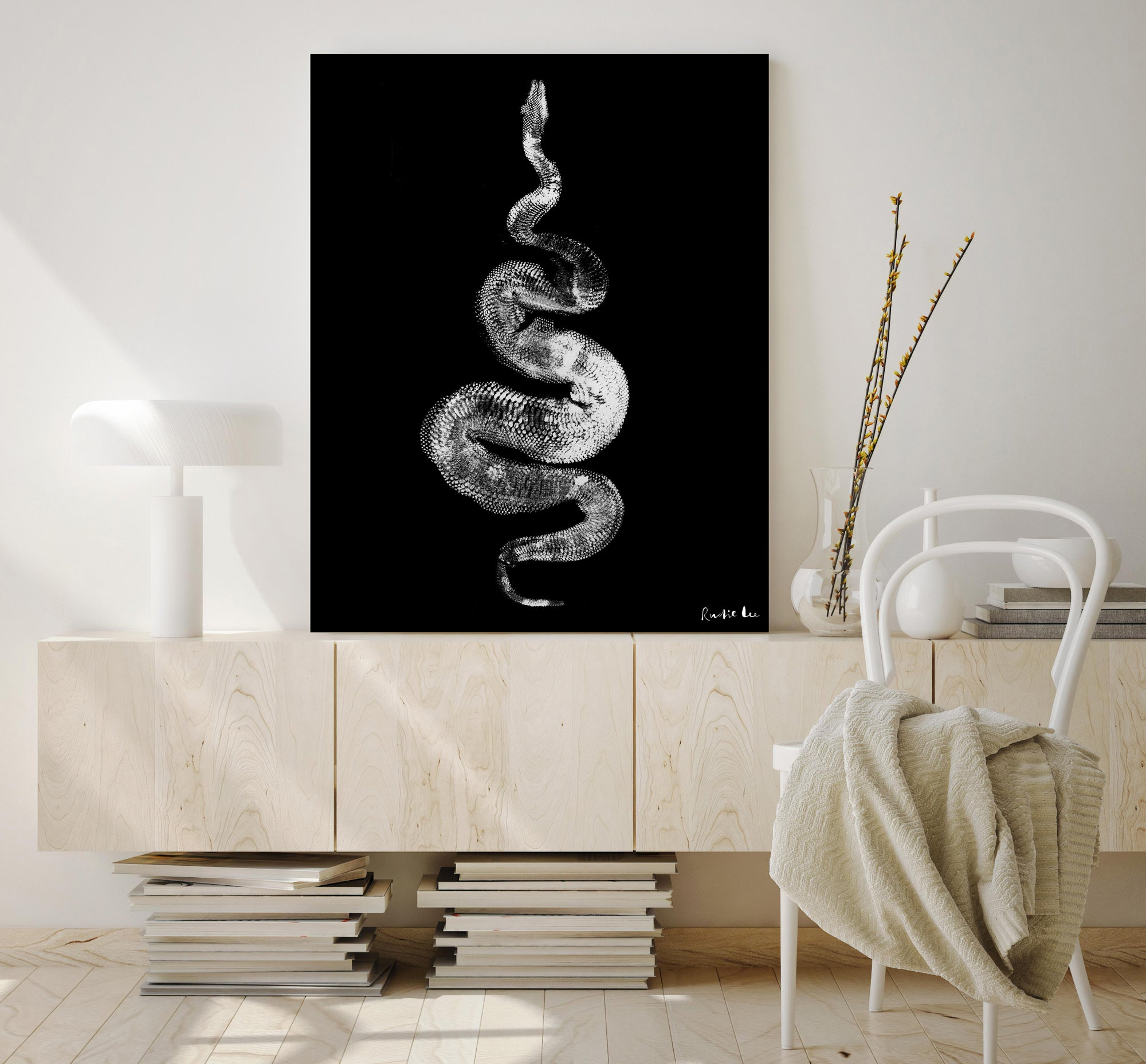 Python Gyotaku No. 01 (White Black) by Rudie Lee