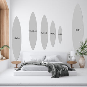 Surfboard (Indigo Waves Set) art piece printed on 3 PCS | 18 x 84 in. each by Rudie Lee