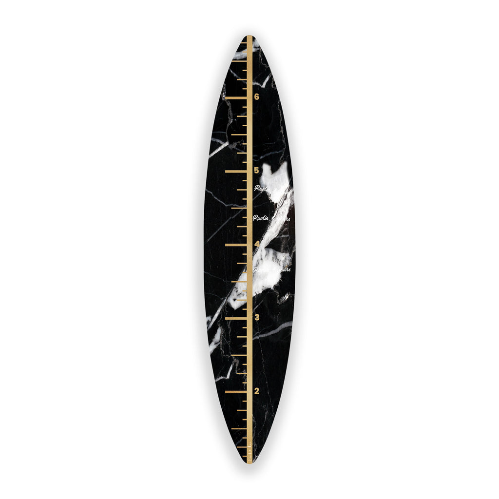 Surfboard Growth Chart (Black Stone) art piece printed on 15 x 70 in by Rudie Lee