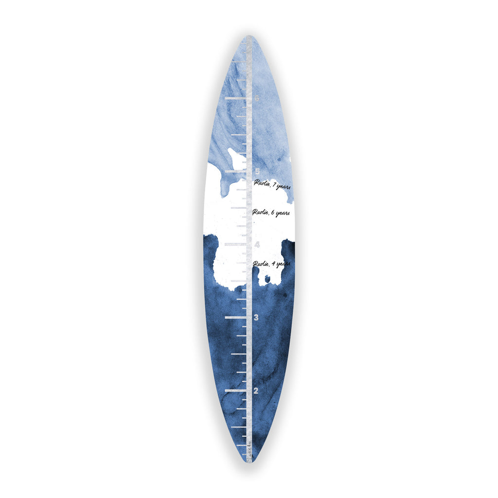 Surfboard Growth Chart (Indigo Waves No. 02) art piece printed on 15 x 70 in by Rudie Lee