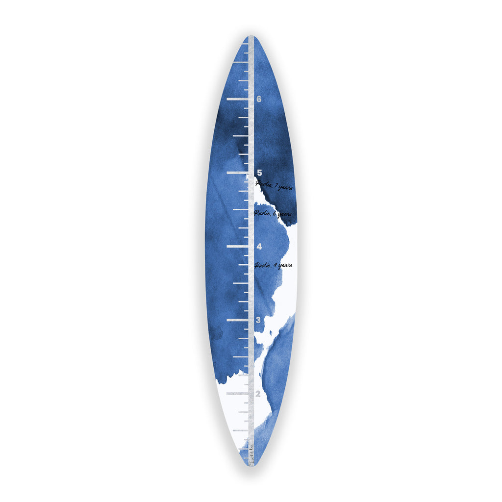 Surfboard Growth Chart (Indigo Waves No. 03) art piece printed on 15 x 70 in by Rudie Lee