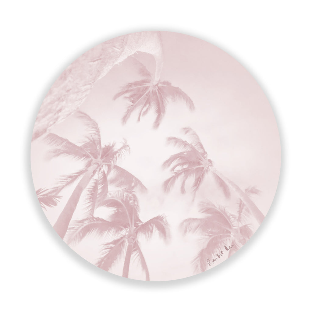 Swaying Palms (Pink Circle) by Rudie Lee