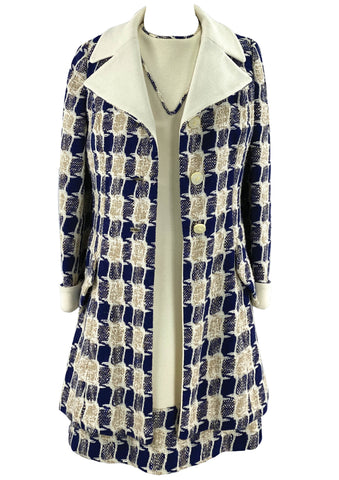1960s Deadstock Lilli Ann Navy & Cream Ensemble- New!