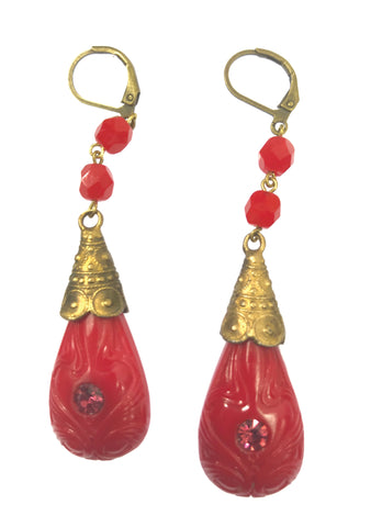 Vintage 1920s Czech Dark Red Coral Glass Earrings- New!